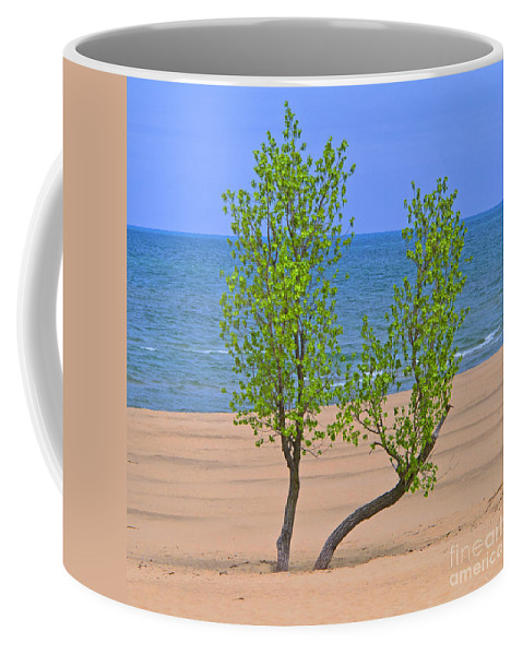 Tree Coffee Mug featuring the photograph Alone On The Beach by Ann Horn