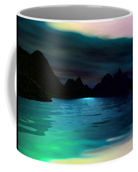 Seascape Coffee Mug featuring the digital art Alone On The Beach by David Lane