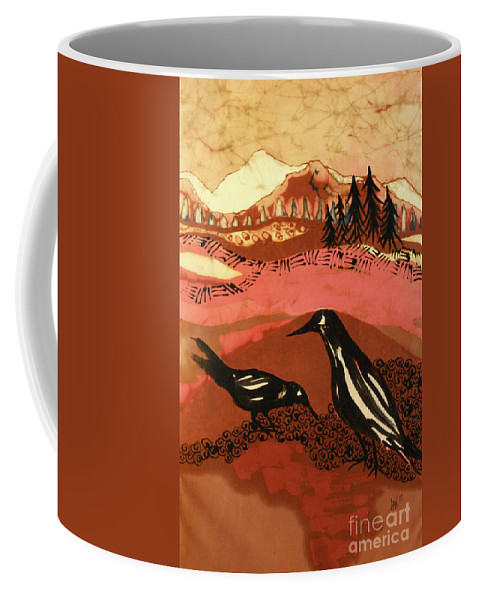Crows Coffee Mug featuring the tapestry - textile Alone Together by Carol Law Conklin