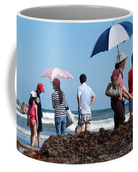 Beach Coffee Mug featuring the photograph Along The Beach by Ruby Rammer