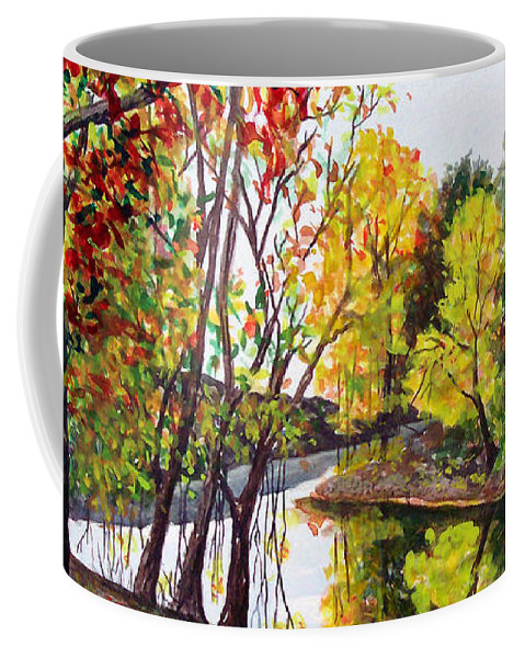 Blanchard River Coffee Mug featuring the painting Along The Blanchard by Nancy Cupp