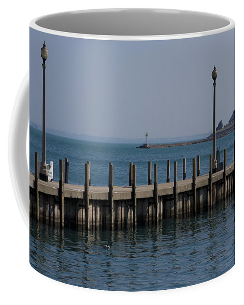 Chicago Windy City Lake Michigan Pier Water Sky Blue Coffee Mug featuring the photograph Along The Lakeshore by Andrei Shliakhau