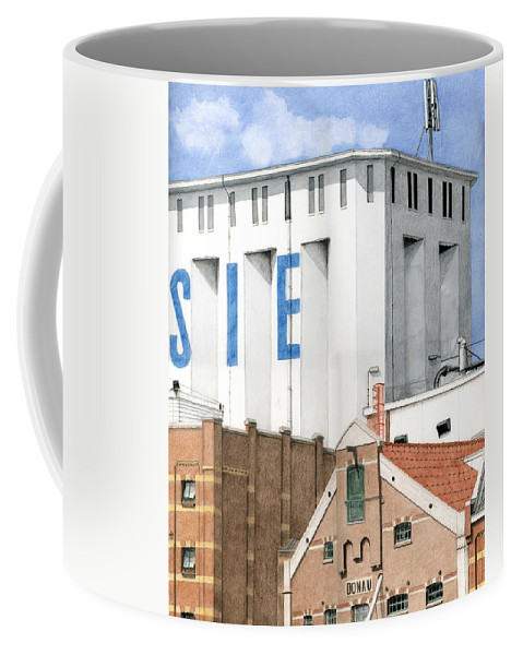 Mixed Media Coffee Mug featuring the mixed media Along The River Zaan Lassie Silo by Rob De Vries