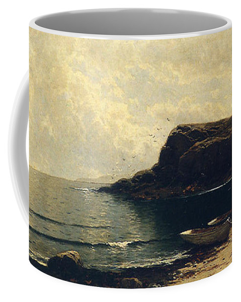 Along_the_shore-alfred_bricher Coffee Mug featuring the painting Along The Shore by MotionAge Designs