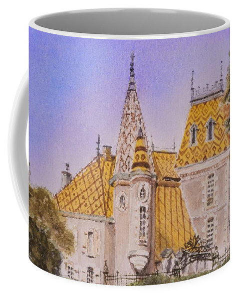 Vineyard Coffee Mug featuring the painting Aloxe Corton Chateau Jaune by Mary Ellen Mueller Legault
