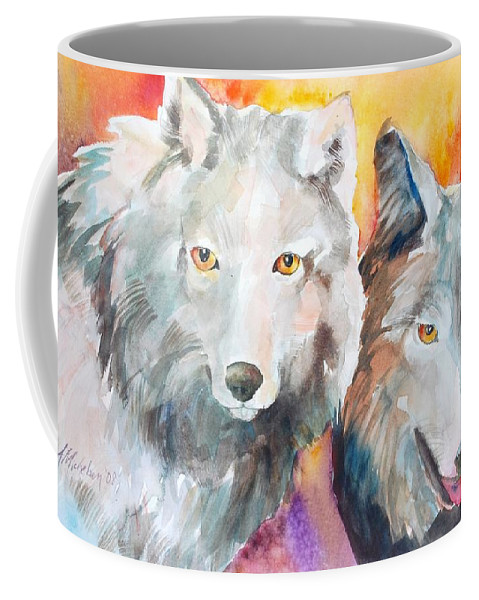 Wolf Coffee Mug featuring the painting Alpha Beta by Christie Martin