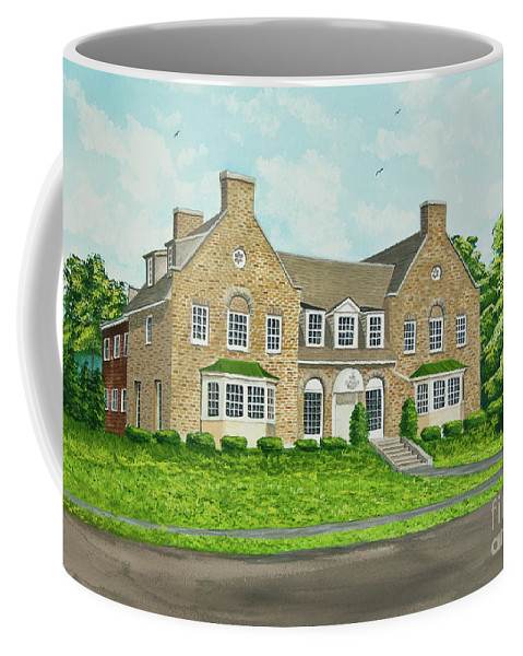 Colgate University Fraternity House Coffee Mug featuring the painting Alpha Tau Omega by Charlotte Blanchard