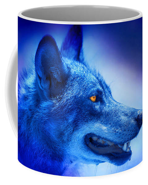 Wolf Coffee Mug featuring the photograph Alpha Wolf by Mal Bray