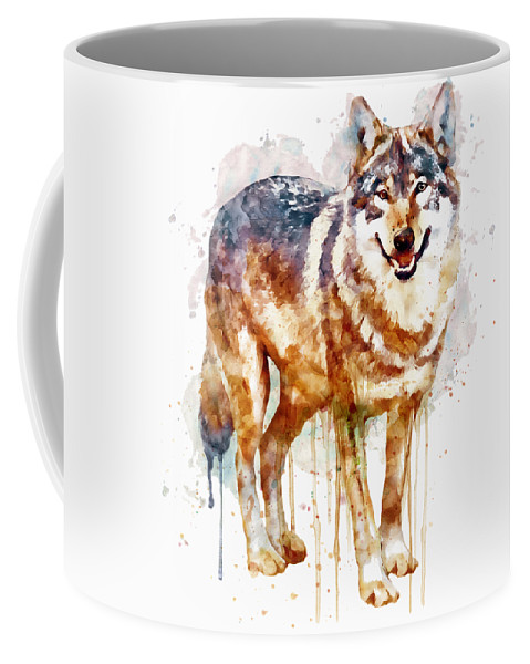 Alpha Wolf Coffee Mug featuring the painting Alpha Wolf by Marian Voicu