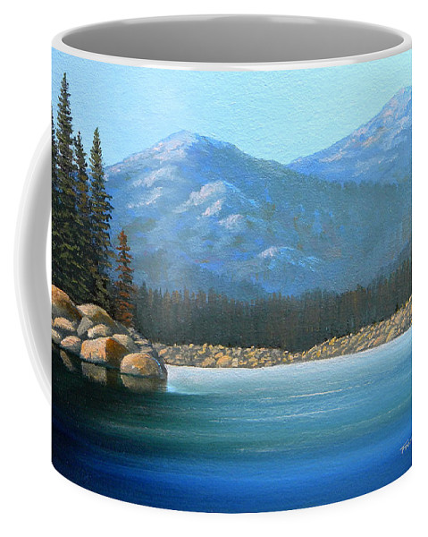 Landscape Coffee Mug featuring the painting Alpine Lake by Frank Wilson