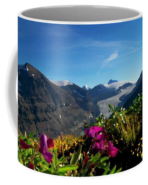 Scenic Coffee Mug featuring the photograph Alpine Meadow Flowers Overlooking Glacier by Greg Hammond