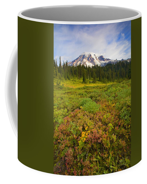 Mt. Rainier Coffee Mug featuring the photograph Alpine Meadows by Mike Dawson