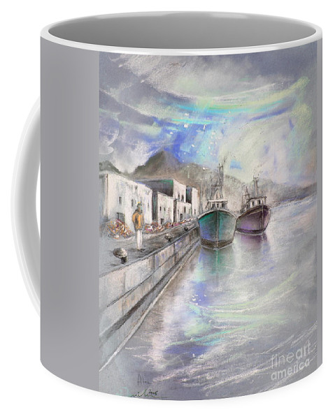 Altea Lanscape Coffee Mug featuring the painting Altea Harbour On The Costa Blanca 01 by Miki De Goodaboom