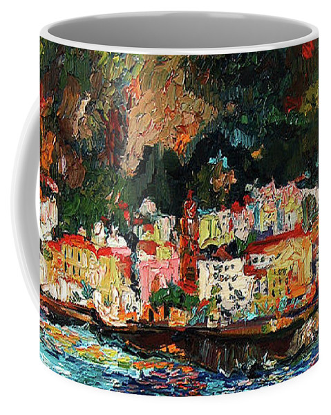 Amalfi Coffee Mug featuring the painting Amalfi Italy Panorama Impressionist Oil Painting by Ginette Callaway