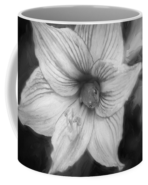 Flower Coffee Mug featuring the photograph Amaryllis And Tree Frog Painted Bw by Rich Franco