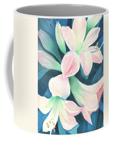 Flower Coffee Mug featuring the painting Amaryllis by Helena Tiainen