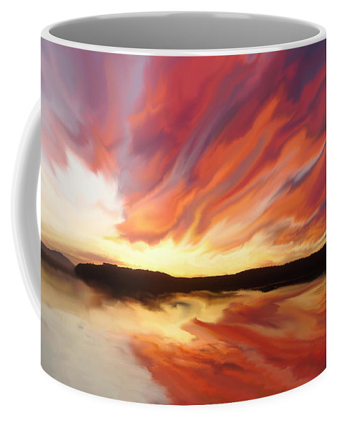 Sunset Coffee Mug featuring the painting Amazing Sunset by Justyna JBJart