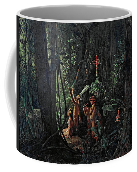 Francois-auguste Biard Coffee Mug featuring the painting Amazonian Indians Worshiping The Sun God by Francois-Auguste Biard