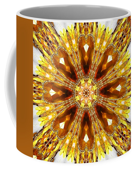 Amber Coffee Mug featuring the digital art Amber Sun. Digital Art 3 by Sofia Metal Queen
