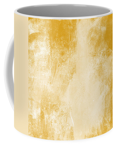 Abstract Coffee Mug featuring the painting Amber Waves by Linda Woods