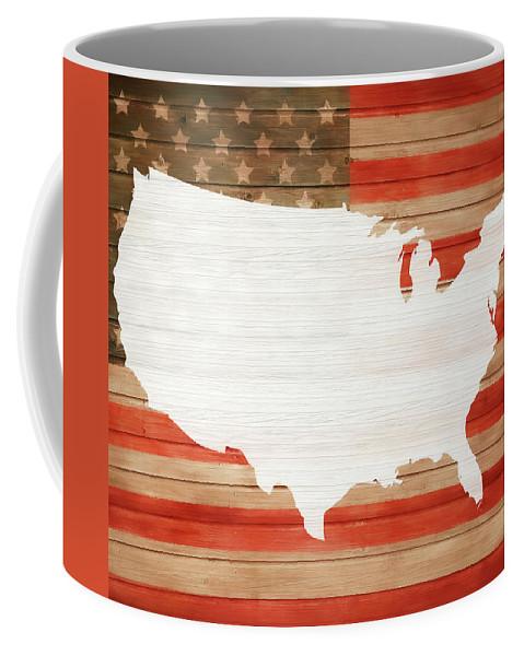 America Rustic Map On Wood Coffee Mug featuring the mixed media America Rustic Map On Wood by Dan Sproul