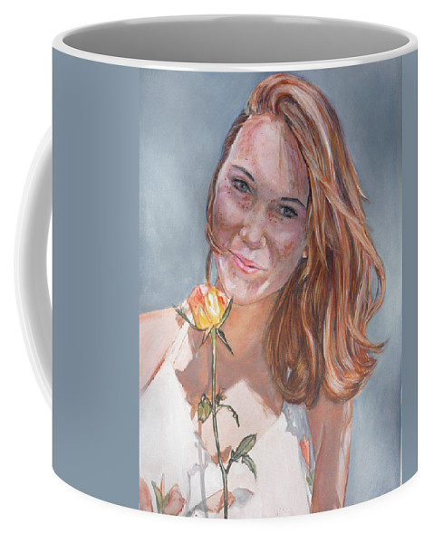 Innocent Coffee Mug featuring the painting American Beauty by Bryan Bustard