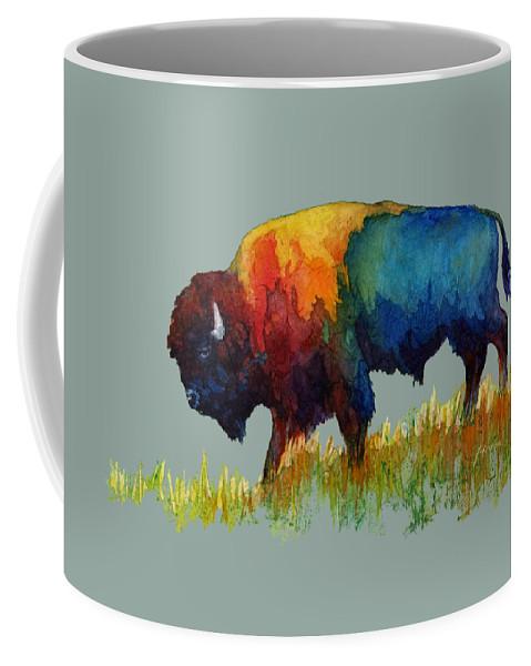Bison Coffee Mug featuring the painting American Buffalo IIi by Hailey E Herrera