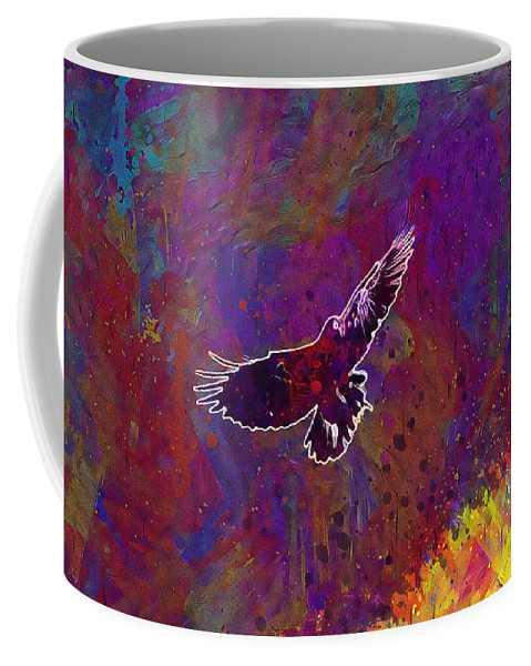 American Coffee Mug featuring the digital art American Crow Flying Ave Fauna by PixBreak Art