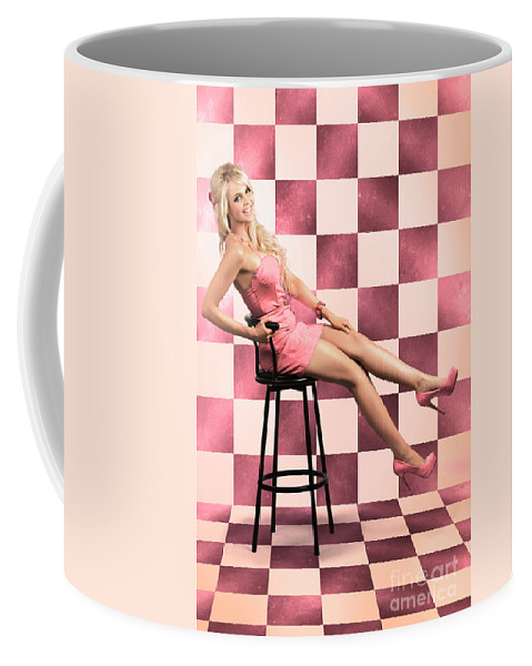 1950 Coffee Mug featuring the photograph American Culture Pin Up Girl Inside 60s Retro Diner by Jorgo Photography - Wall Art Gallery