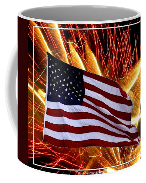 Flags Coffee Mug featuring the photograph American Flag And Fireworks by Rose Santuci-Sofranko