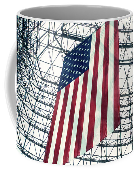 Flag Coffee Mug featuring the photograph American Flag In Kennedy Library Atrium - 1982 by Thomas Marchessault