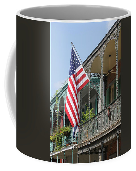 American Flag Coffee Mug featuring the photograph American French Quarter by Lauri Novak