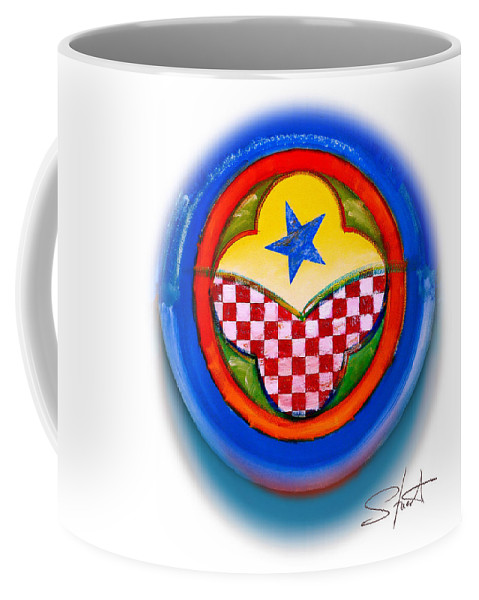 Pinball Coffee Mug featuring the painting American Happiness Button by Charles Stuart