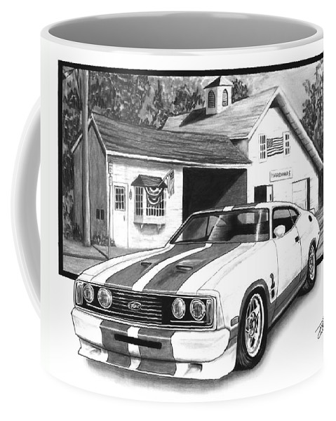 American Heartland 1978 Ford Cobra Coffee Mug featuring the drawing American Heartland by Peter Piatt