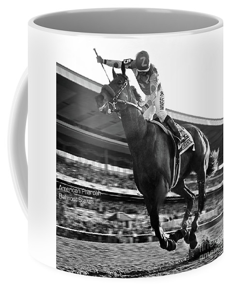 Victor Espinoza Coffee Mug featuring the mixed media American Pharoah with Victor Espinoza winning the 2015 Belmont Stakes, Triple Crown by Thomas Pollart