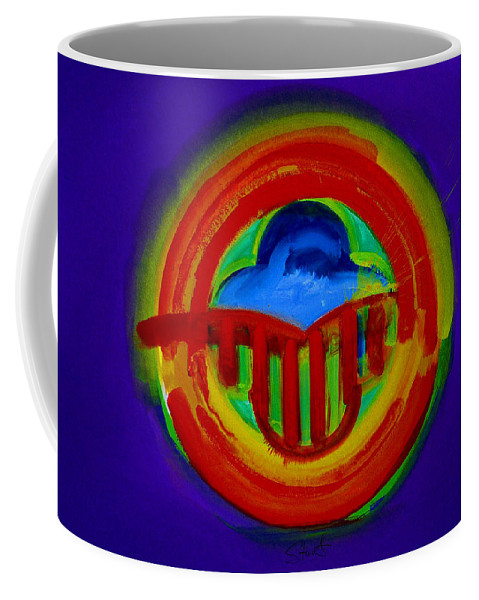 Button Coffee Mug featuring the painting American Power Button by Charles Stuart