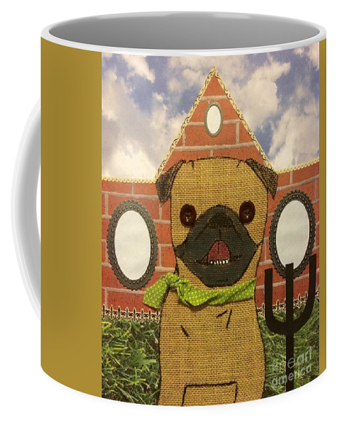 Coffee Mug featuring the mixed media American Pug Gothic by Purely Pugs Design