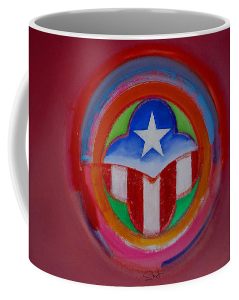 Button Coffee Mug featuring the painting American Star Button by Charles Stuart