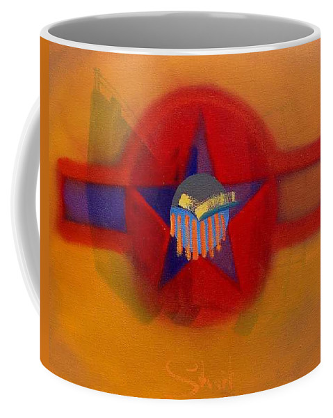 Usaaf Insignia And Idealised Landscape In Union Coffee Mug featuring the painting American Sub Decal by Charles Stuart