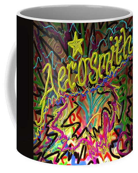 Aerosmith Coffee Mug featuring the painting America's Rock Band by Kevin Caudill