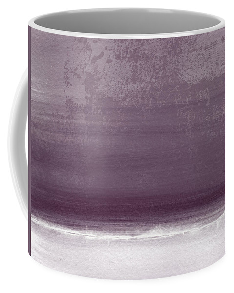 Beach Coffee Mug featuring the painting Amethyst Shoreline- Abstract Art By Linda Woods by Linda Woods