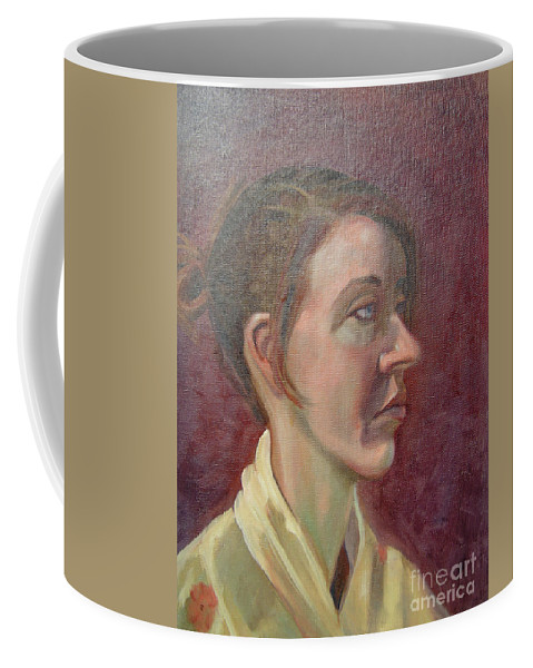 Girl Coffee Mug featuring the painting Ami Portrait by Lilibeth Andre