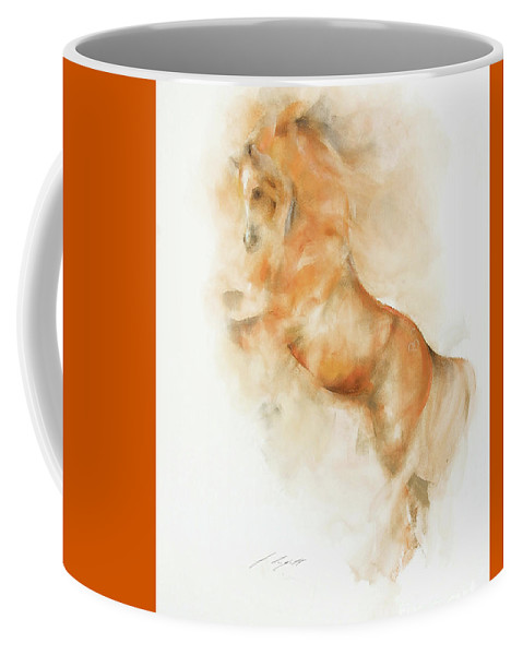 Equestrian Painting Coffee Mug featuring the painting Amin by Janette Lockett