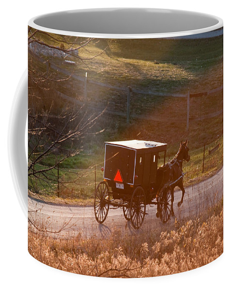 Amish Coffee Mug featuring the photograph Amish Buggy Afternoon Sun by David Arment