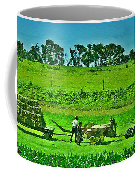 Lancaster County Coffee Mug featuring the photograph Amish Gathering Hay by Bill Cannon