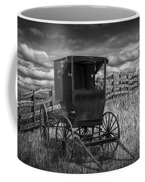 Amish Coffee Mug featuring the photograph Amish Horse Buggy In Black And White by Randall Nyhof