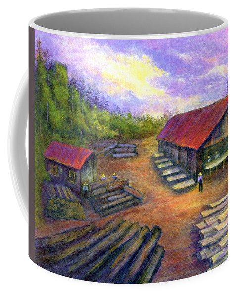 Amish Coffee Mug featuring the painting Amish Lumbermill by Gail Kirtz