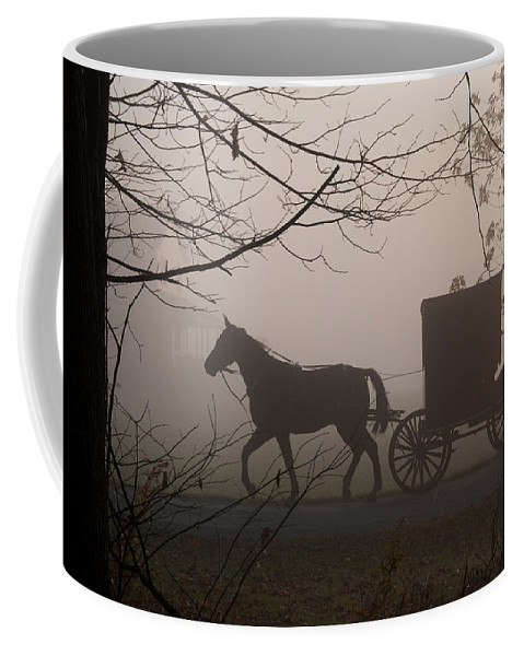 Amish Buggy Coffee Mug featuring the photograph Amish Morning 1 by David Arment