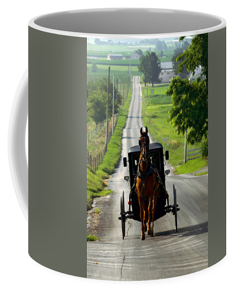 Lawrence Coffee Mug featuring the photograph Amish Morning Commute by Lawrence Boothby