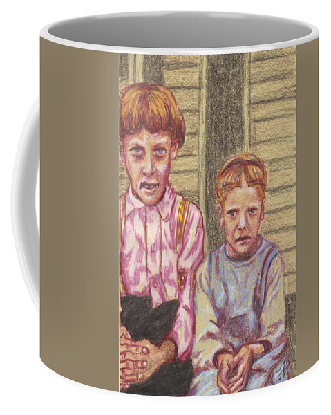 Brother Coffee Mug featuring the drawing Amish Siblings by Jean Haynes